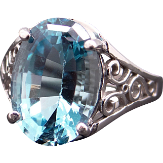 Beautiful 14k White Gold 7ct Oval Blue Topaz 14.5mm Filigree Ring Size 7