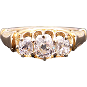Antique 14k Yellow Gold Three Stone Round Old European Cut Diamond Engagement Band Ring Size 5.25 Past Present Future Style