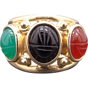 Vintage 14k Yellow Gold Multi Color Onyx Scarab Cigar Band Cocktail Ring Size 6