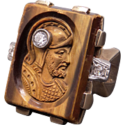 Vintage Men's 10k Yellow Gold Carved Tiger Eye Diamond Intaglio Cameo Solider Ring Size 8
