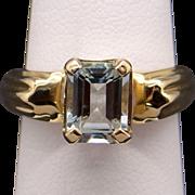 14k Yellow Gold Emerald Cut Aqua 1.32ct Aquamarine Solitaire Band Ring Size 6