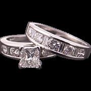 Breathtaking Platinum 2.38ct Radiant Cut Diamond Engagement Ring Wedding Band Bridal Set Size 7