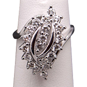 Adorable 14k White Gold 1ct Round Brilliant Cut Diamond Cluster Flower Leaf Cocktail Cluster Ring Size 5