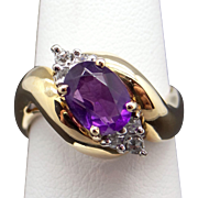 Vintage Estate 14k Yellow Gold 1.18ct Oval Cut Amethyst Diamond Cluster Cocktail RingSize 7.5
