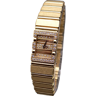 Exceptional Women's Solid 18k Yellow Gold Diamond Piaget Polo Quartz Battery Watch 7 inch