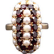 Beautiful 14k Yellow Gold 1ct Garnet & Cultured White Pearl Cluster Cocktail Ring Size 5.5