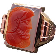 Vintage Men's 10k Yellow Rose Gold Carved Stone Sardonyx Carnelian Cameo Soldier Ring Size 9