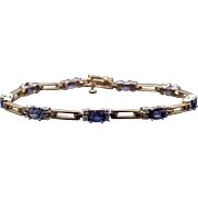 Beautiful 14k Yellow White Gold 4ct Oval Sapphire Diamond Tennis Link Bracelet 7 inch