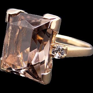 Retro Era 10k Yellow Gold 11ct Emerald Cut Golden Topaz Diamond Cluster Band Ring Size 6.25