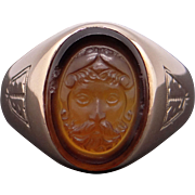 14k Yellow Gold Carved Stone Carnelian Zeus Greek God Cameo Cigar Ring Size 8.25