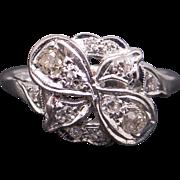 Amazing Art Deco Platinum .28ct Round Cut Diamond Flower Cluster Cocktail Ring Size 5