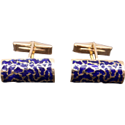 Vintage Men's 14k Yellow Gold Blue Enamel Rectangular Cufflinks Cuff Link Dress Shirt 15.8 grams