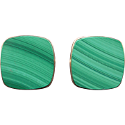Vintage Men's 14k Yellow Gold Square Green Malachite Cufflinks Cuff Link Dress Shirt Studs 18 grams