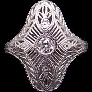 Art Deco Platinum Filigree .15ct Round Cut Diamond Cocktail Band Ring Size 6.25