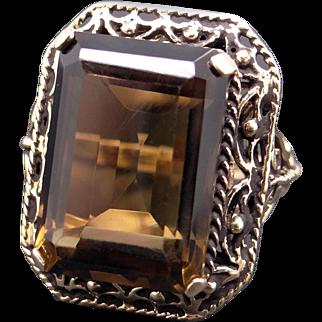 Retro Era 14k Yellow Gold 17ct Emerald Cut Smokey Topaz Solitaire Cocktail Ring Size 7.5