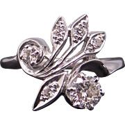 Retro Beautiful 14k White Gold .70ct Round Diamond Cluster Cocktail Band Flower Ring Size 7