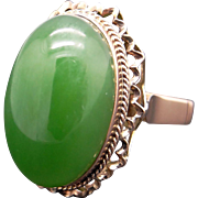 Beautiful Vintage 18k Yellow Gold Green Jade Cocktail Flower Solitaire Ornate Cocktail Ring Size 5.5
