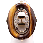 Vintage 14k Yellow Gold Tiger Eye Round Diamond Cocktail Cluster Ring Size 6