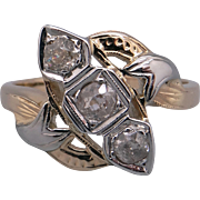 Art Deco White Yellow Gold .25ct Round European Diamond Cocktail Cluster Ring