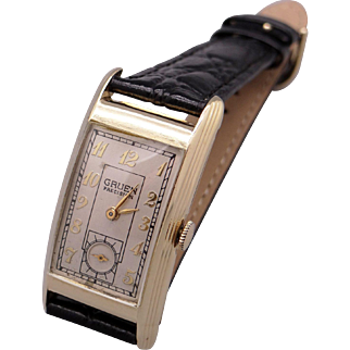 Vintage Mens Gruen Curvex Precision 14k Yellow Gold Manual Wind 17 Jewel Watch