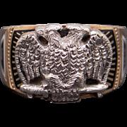 Mens 10k Yellow White Gold 32nd Masonic Enamel Band Ring Size 10.5