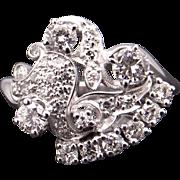 Gorgeous Retro Era 14k White Gold 1.50ct Round Cut Diamond Cluster Cocktail Flower Ring Size 10.25