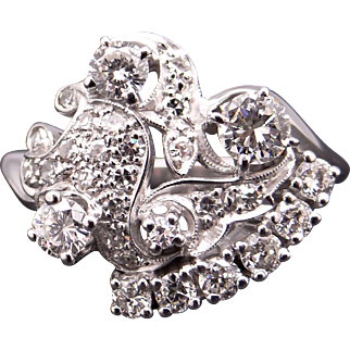 Gorgeous Retro Era 14k White Gold 1.50ct Round Cut Diamond Cluster Cocktail Flower Ring Size 10.25