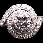 Stunning Retro 14k White Gold 1.87ct Round Brilliant Cut Diamond Cocktail Cluster Band Swirl Ring Sz 6