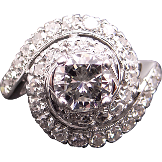 Stunning Retro 14k White Gold 1.87ct Round Brilliant Cut Diamond Cocktail Cluster Band Swirl Ring Sz 6