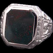 Ornate Mens 14k White Gold Rectangular Bloodstone Band Ring Size 10.5