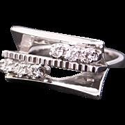 Retro 18k White Gold .30ct Round Diamond Cluster Geometric Band Ring Size 6.75