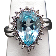Adorable 14k White Gold 2.60ct Pear Shape Blue Topaz Diamond Cluster Ring Size 5.5