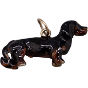 Vintage 14k Yellow Gold Enamel Dachshund Hot Dog Puppy Charm Pendant
