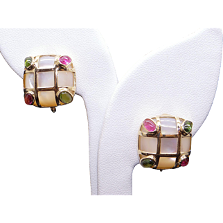 Gorgeous 14k Yellow Gold 17mm Cultured Mother of Pearl Pink Green Tourmaline Cluster Stud Earrings With Omega Backs