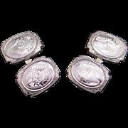 Retro 14k White Gold Engine Turned Machine Engraved Cufflinks Dress Shirt