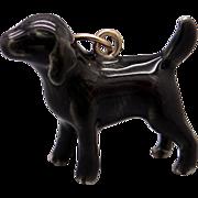 Vintage 14k Yellow Gold Enamel Black Labrador Retriever Dog Puppy Charm Pendant
