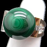 Amazing Retro 14k Yellow Gold Green Malachite Bead Ball Diamond Ring Size 6.5