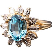Amazing 14k Yellow Gold 3ct Oval Cut Blue Topaz Diamond Halo Cluster Ring Size 5.5
