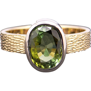 Awesome 18k Yellow White Gold 1.75ct Oval Shape Green Tourmaline Bezel Solitaire Ring 6