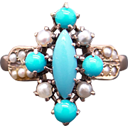 Art Deco 10k Yellow Gold Turquoise Cultured Seed Pearl Flower Cluster Ring Size 6.5