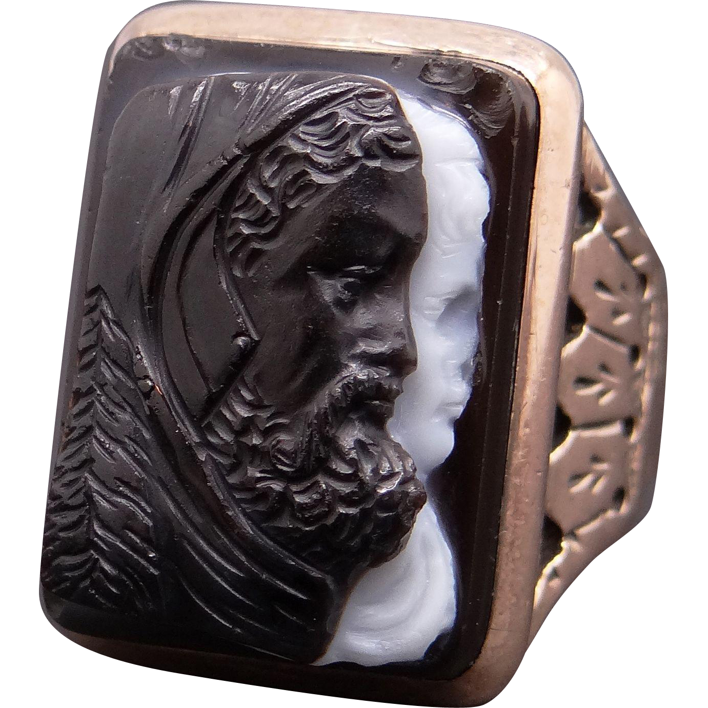 mens 10k rose gold carved cameo onyx roman soldier cigar
