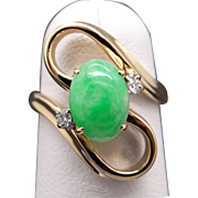 14k Yellow Gold Diamond Green Jade Cluster Free Form Cocktail Band Ring Size 4.5