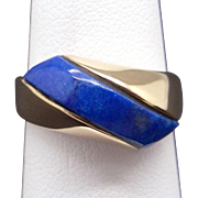 Vintage 14k Yellow Gold Blue Lapis Band Wave Dome Ring Size 6.75