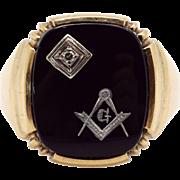 Mens 10k Yellow White Gold Masonic Onyx Diamond Ring Size 10
