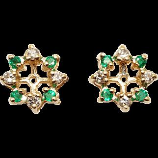14k Yellow Gold .48ct Round Emerald Diamond Flower Snowflake Stud Earring Jackets