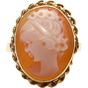 14k Yellow Gold Oval Shaped Carved Woman Profile Shell Cameo Band Ring Size 5
