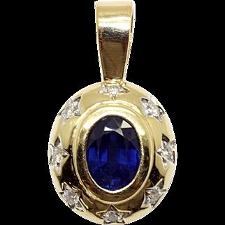 14k Yellow Gold 1.50ct Oval Cut Sapphire Diamond Charm Slide Pendant