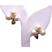 14k Yellow Gold 8mm Cultured Pearl .30ct Round Cut Diamond Earrings