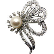 14k White Gold .85ct Round Diamond and Cultured Pearl Butterfly Flower Brooch Pin