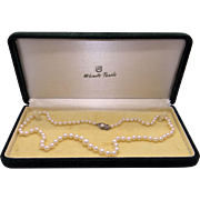 Mikimoto Sterling Silver Graduated 4mm 8mm Cultured Pearl Necklace 18 Inch
